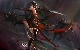 anime girl fighting katana sword pixiv fantasia hd wallpaper