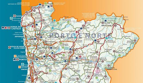 Mapa da região de Guimarães, Norte de Portugal
