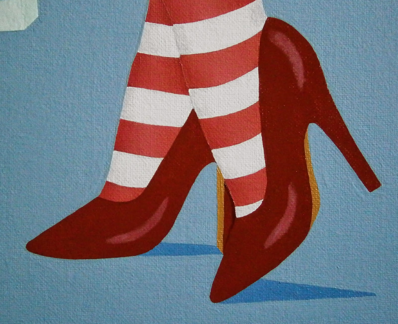 Red Christmas heels painted by L. E. Gav Thorpe