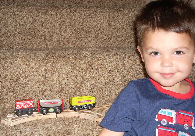 My son lovable labeling his trains