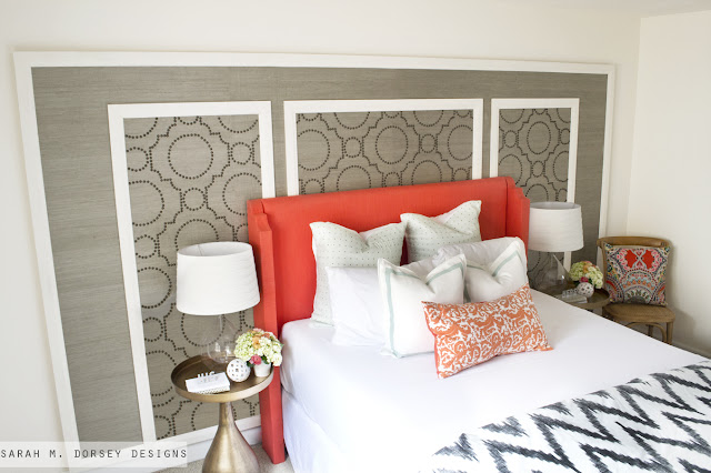 Temporary Accent Wall with Grasscloth and Nailheads