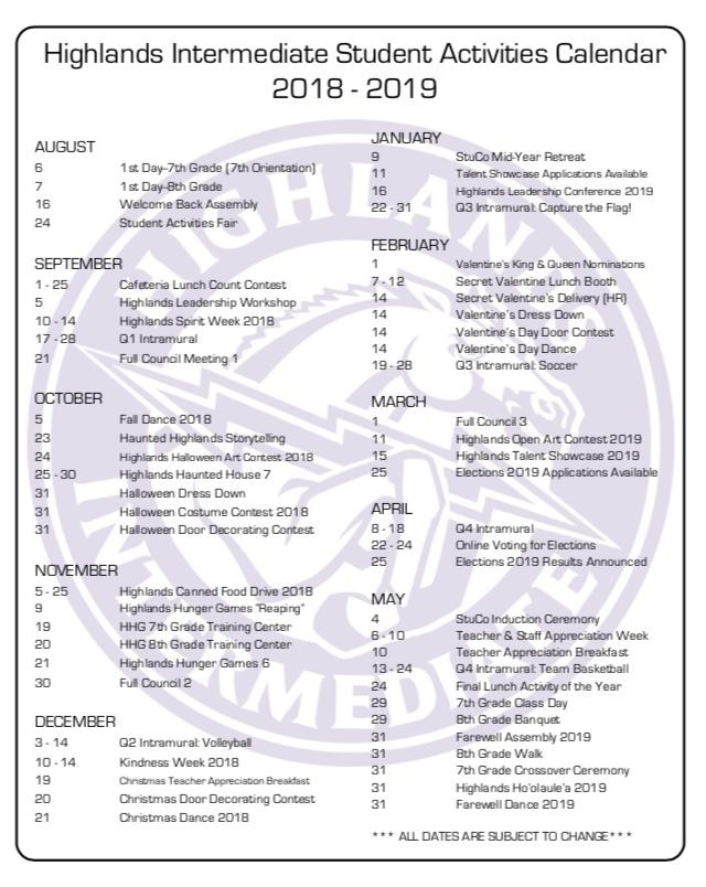 Student Activities Calendar 18-19