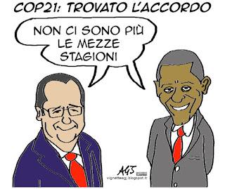 hollande, Obama, cop21, climate change, riscaldamento globale, satira vignetta