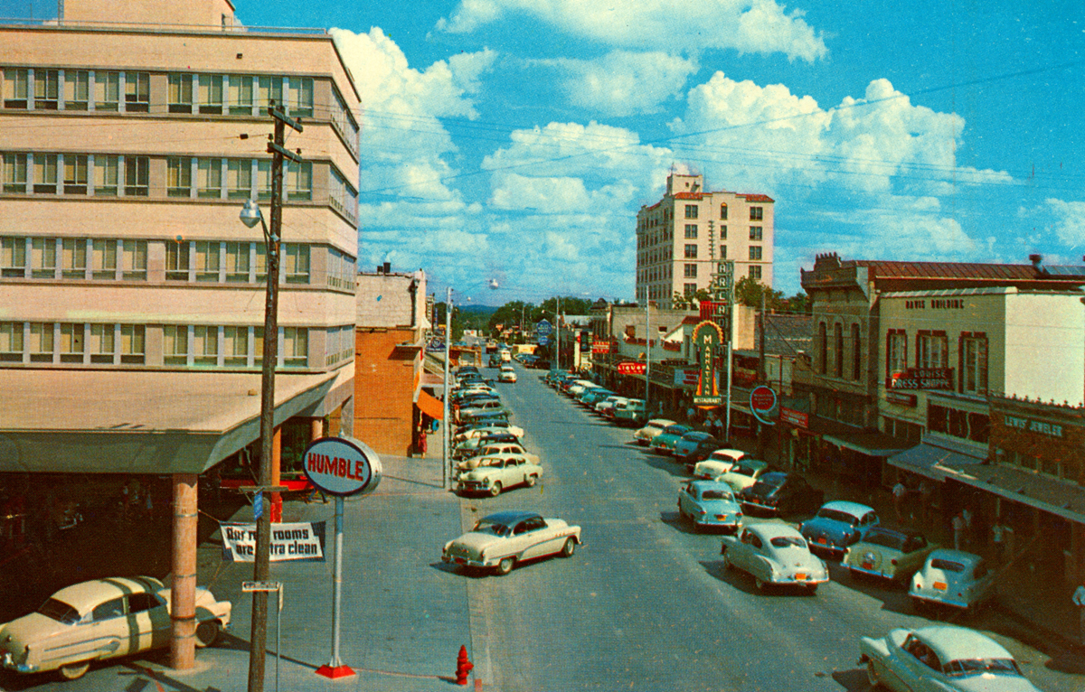 Kerrville 1950s Looking Down Water Street Toward The Blue Bonnet Hotel Photographer Was Likely On Roof Of Peterson S Garage