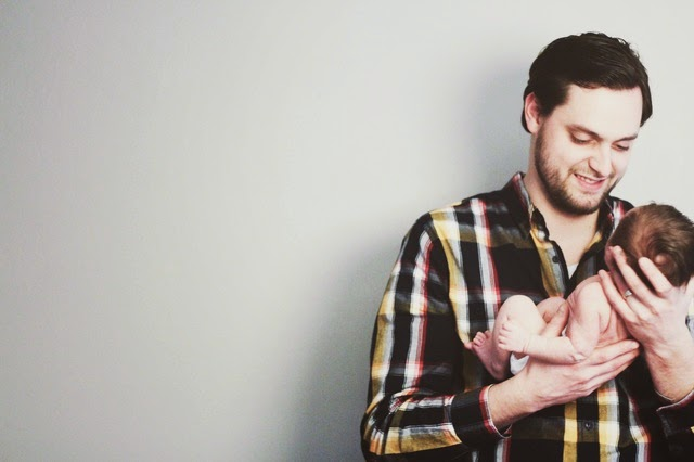 father and son newborn photo