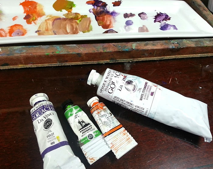 secondary palette limited with gouache paints