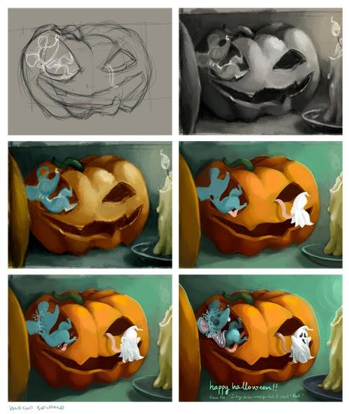ilustracion halloween proceso