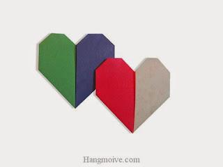 Cách gấp, xếp trái tim hai màu bằng giấy origami - Video hướng dẫn xếp hình trái tim quà tặng - How to fold two color heart