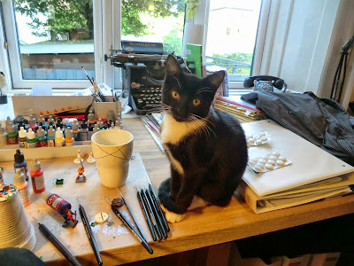 Cat, painting, miniatures, cute