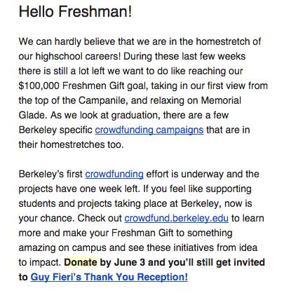 UC Berkeley already asking incoming freshmen for donations ...