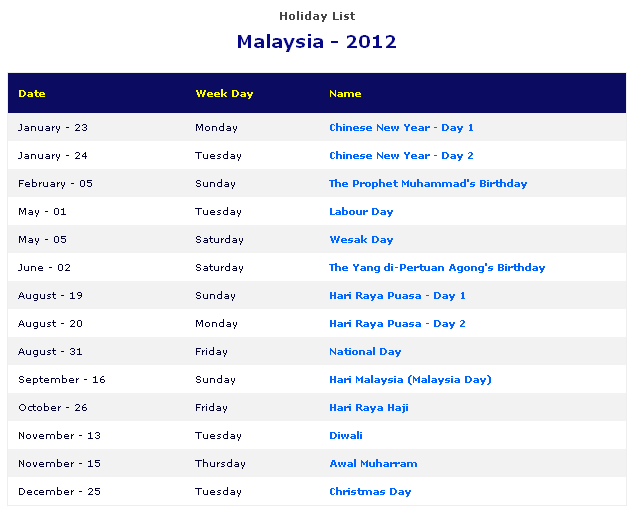 Malaysian Holiday 2016 Calendar | Calendar Template 2016