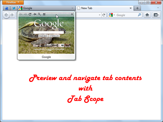 Preview and navigate tab contents with Tab Scope