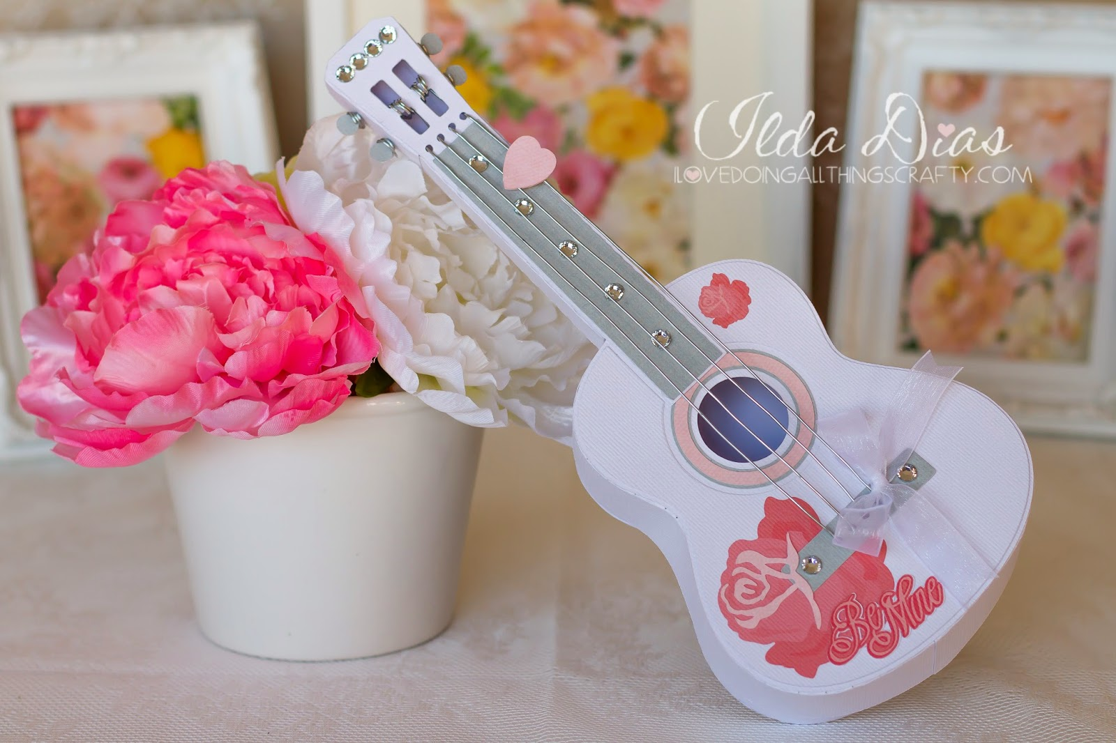 I Love Doing All Things Crafty 3D Paper Guitar Gift Box