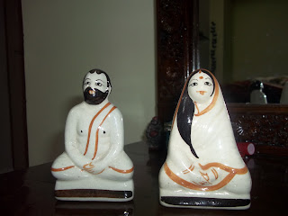 showpiece, interior design, table piece, clay dolls, ramkrishna paramhansa and sharada maa, Indian art