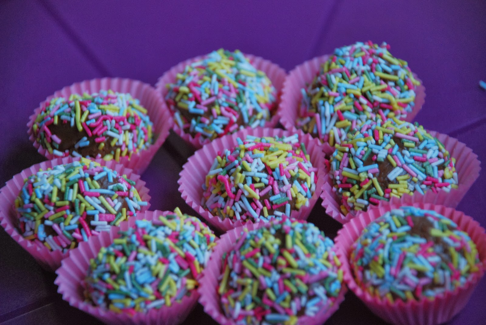 image of milk choc truffles with sprinkles