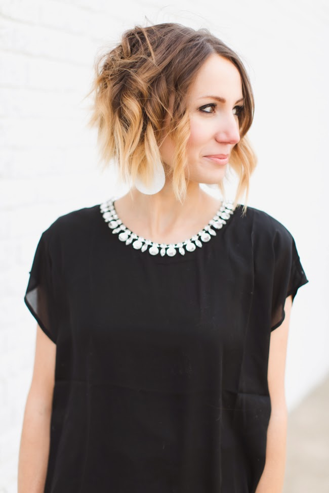 Subtle glam- embellished collar and all black