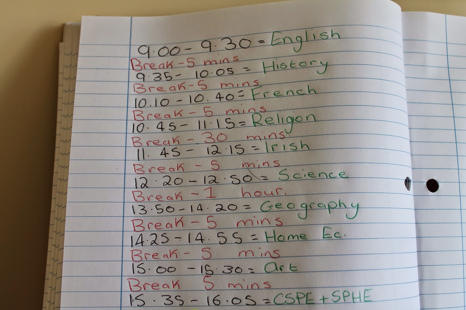 alison ciara draw up a revision timetable