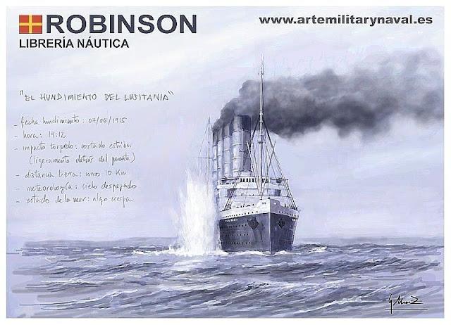 Ilustración del hundimiento del RMS Lusitania Guerra Mundial