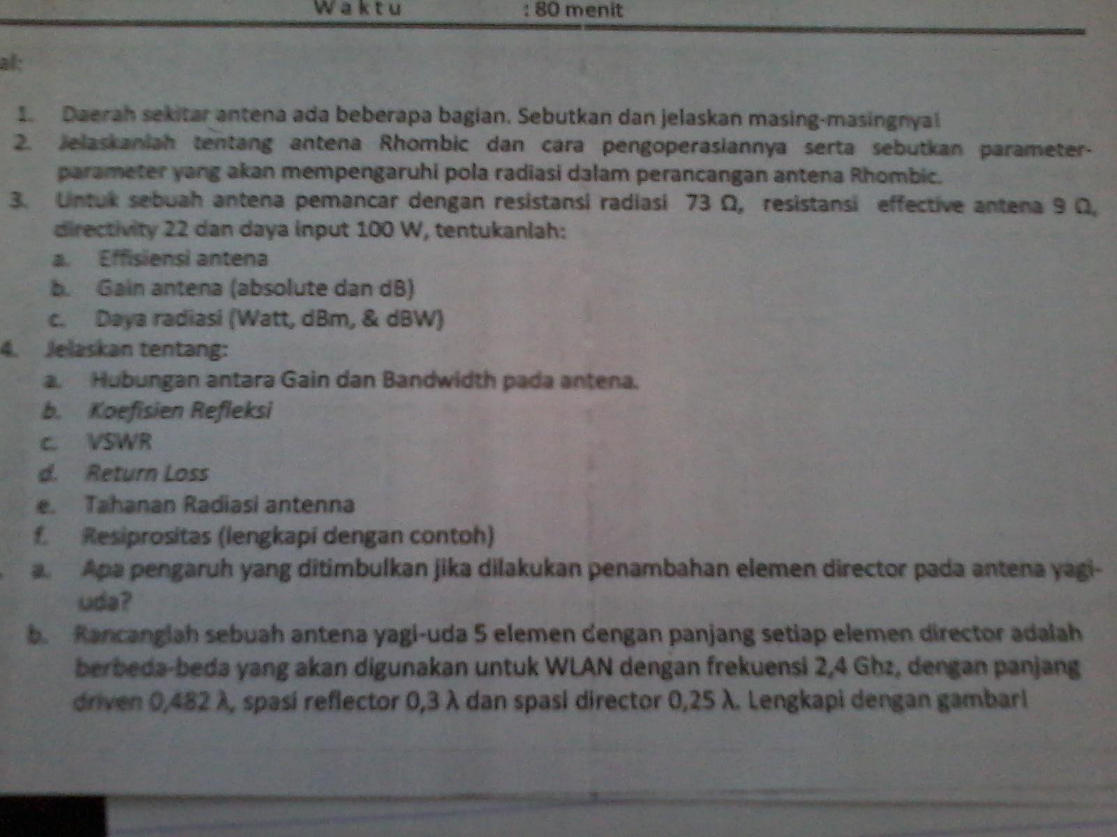 Kuis Antena Dan Propagasi Semester 3 Dokumen 471