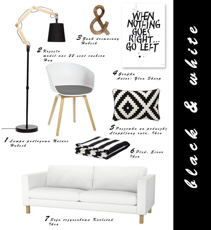 Dacon-Design-wnetrza-czarno-biale-typografia-Ylva Skarp-Ikea