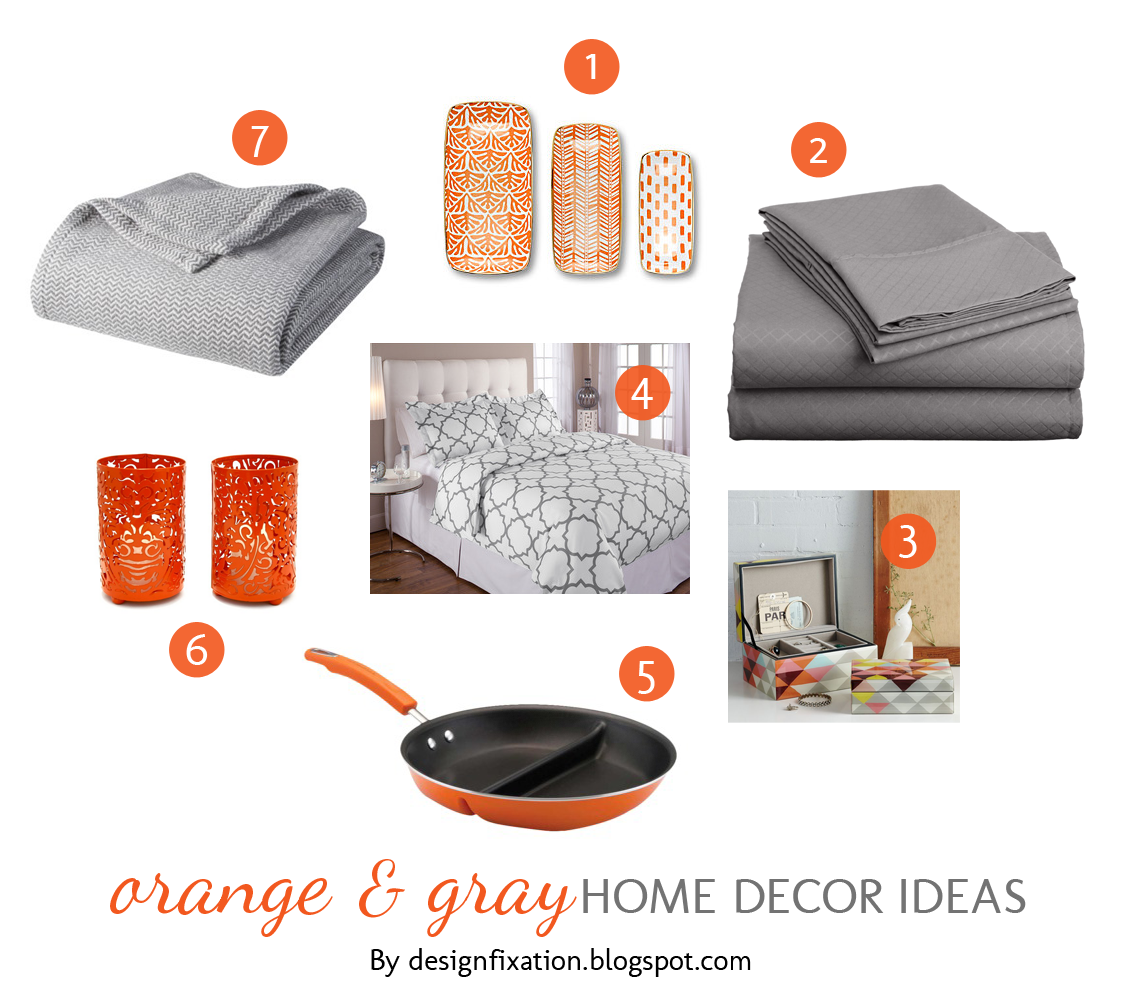 design fixation orange gray home decor ideas
