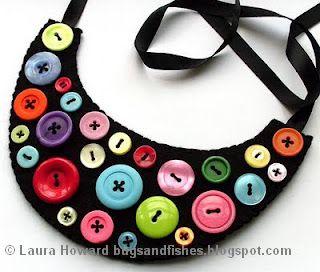 Reciclatex Collar de fieltro y botones