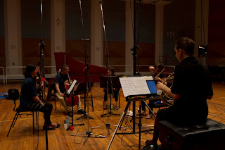Anneke Scott and Ironwood at the recording session - photo credit Sophie Raymond