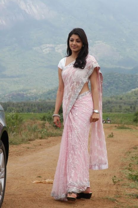 kajal agarwal looking in saree cute stills