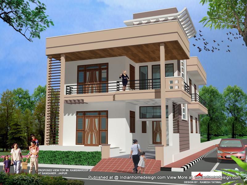 Indian house front view 3d view home design