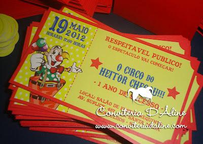 convite ingresso circo palhacinho