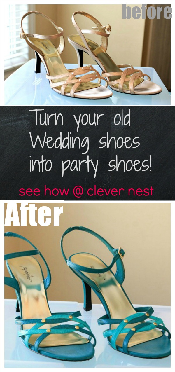 easy shoe makeover using paint and iron on transfers #wedding_shoe #makeover #clever_nest