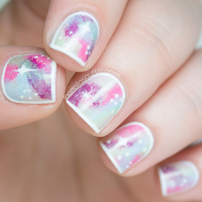 Snippet: Framed Pastel Galaxy Nail Art