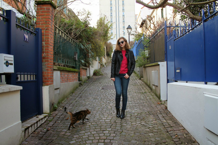 Fuschia sweater, leather jacket and vintage sunglasses