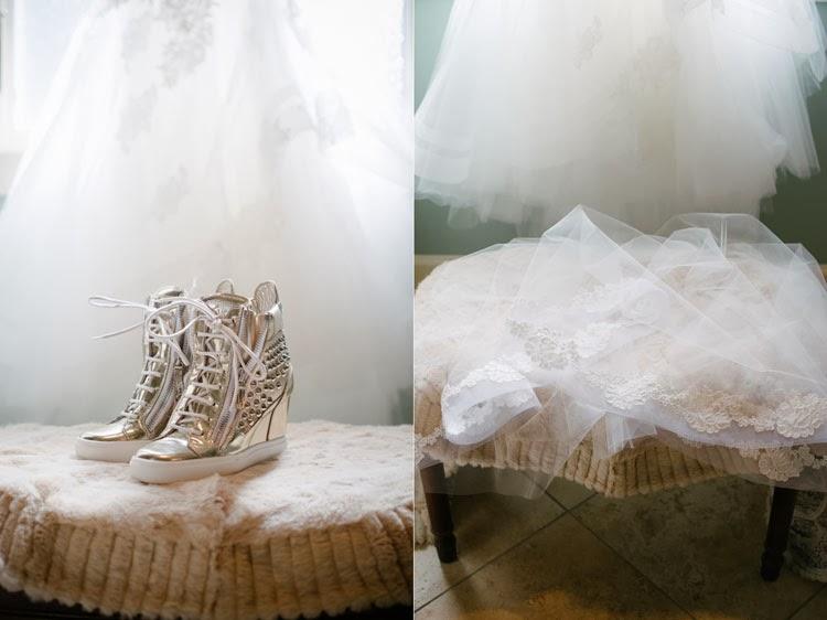 Giuseppe Zanotti silver studded wedding shoes and wedding veil