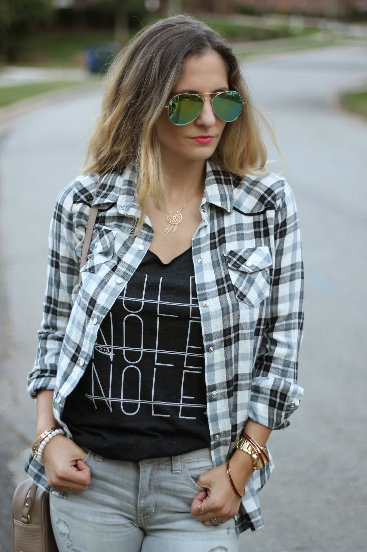 Flannel Button Up with Tank Top and Jeans