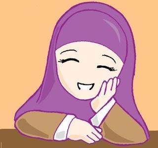 Kartun muslimah gadis kecil bersedih