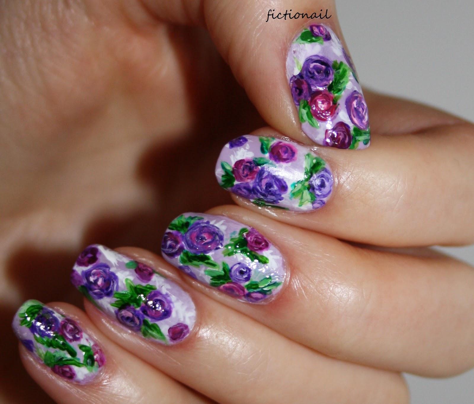 Purple Rose Nails For Cystic Fibrosis Awareness