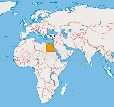 Haritada Mısır ve Türkiye