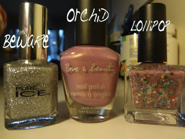 beware by pure ice, orchid by love and beauty, lollipop by urban outfitters