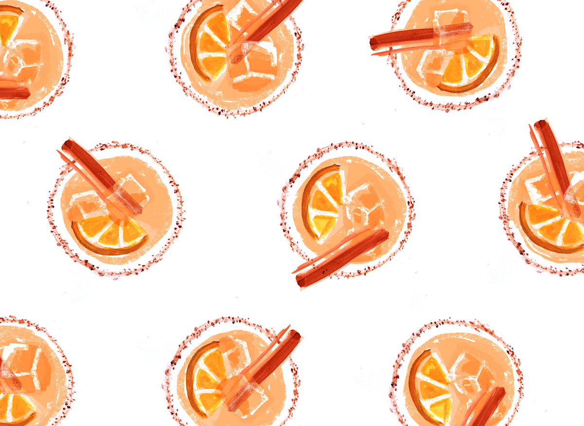 apple cider amaretto sour, lauren monaco illustration