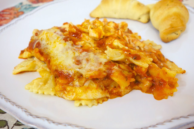 Cheesy Chicken Bowtie Pasta recipe - bow tie pasta, chicken, tossed in ...
