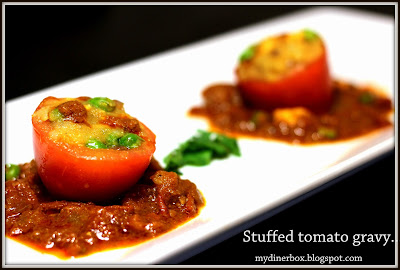 Stuffed tomato,stuffed tomato gravy,roti side dish,side sidh,stuffed vegetables