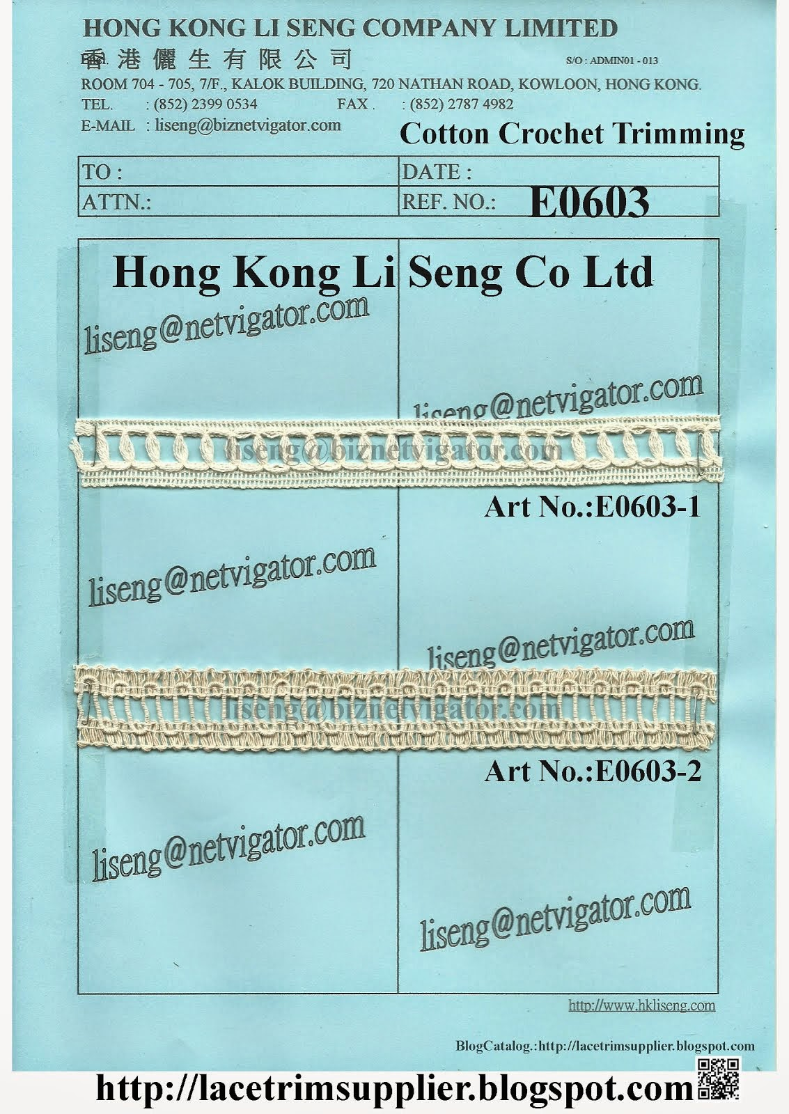 Cotton Crochet Trimming Manufacturer - Hong Kong Li Seng Co Ltd
