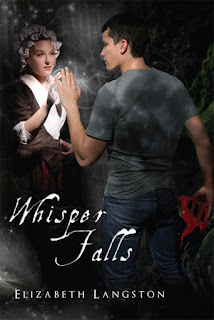 Whisper Falls cover has boy in jeans and t-shirt reaching out to girl in eighteenth century clothing