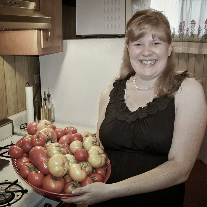 Theresa with tomatoes