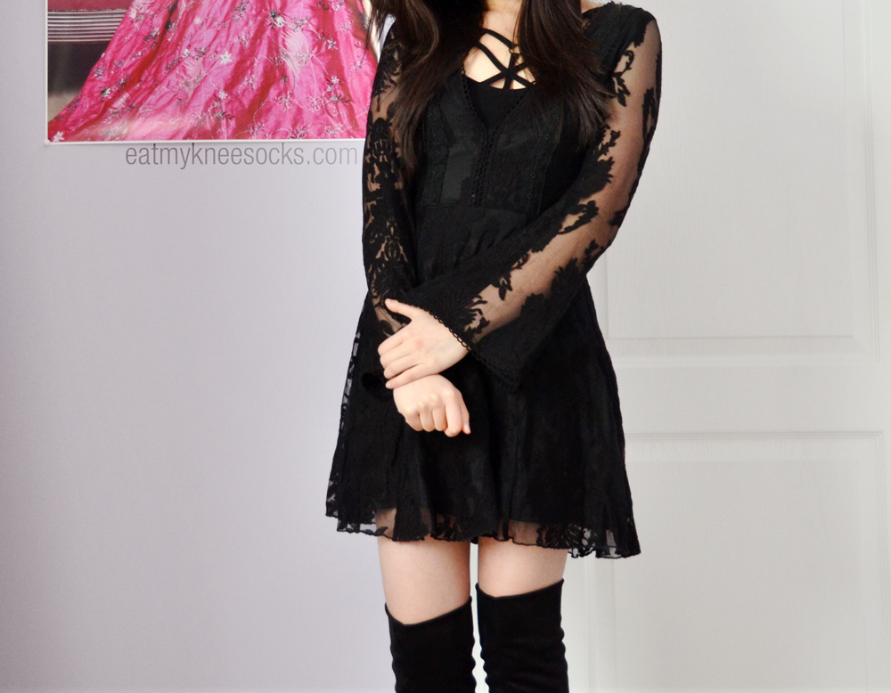 OOTD featuring the v-neck SheInside lace dress, Free People strappy front bra, and over-the-knee boots.