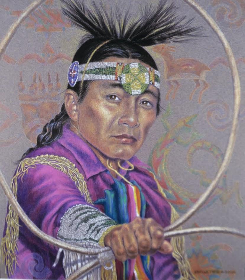 """""""Hoop Dancer"""" 16x14 Colored pencil 2006"""
