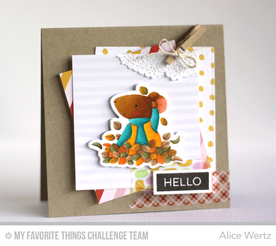 Harvest Hello Card by Alice Wertz featuring the BIrdie Brown Harvest Mouse stamp set and Die-namics #mftstamps