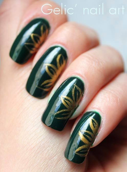 Gelic nail art gold and green flower nail art gold and green flower nail art prinsesfo Choice Image