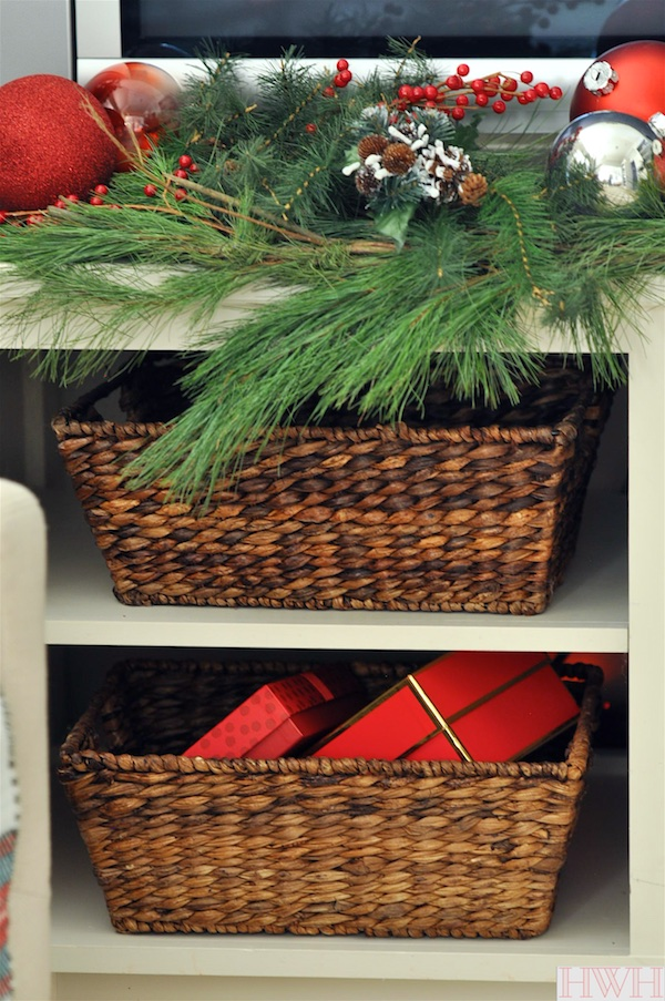 Festive holiday decor- fresh garland, berries and ornaments | Honey We're Home
